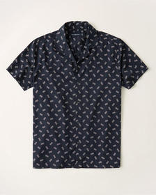 Short-Sleeve Camp Collar Button-Up Shirt, NAVY BLU