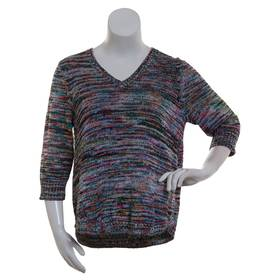 Plus Size Notations 3/4 Sleeve V-Neck Space Dye Sw