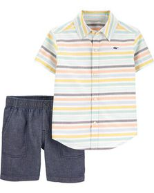 carters 2-Piece Striped Button-Front & Cham...