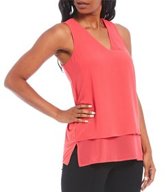 MICHAEL Michael Kors Mixed Woven and Knit V-Neck S
