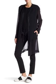 DKNY Long Sleeve Mixed Media Silk Jacket