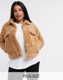 Missguided Plus cropped sherpa jacket in tan