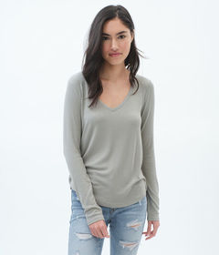 Aeropostale Long Sleeve Seriously Soft Ribbed V-Ne