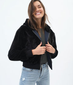 Aeropostale Reversible Woven & Faux Fur Hooded