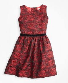 Brooks Brothers Girls Sleeveless Rose Jacquard Dre