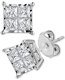 Diamond Princess Cluster Stud Earrings (1 ct. t.w.