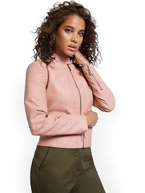 Banded Collar Faux-Leather Moto Jacket - New York