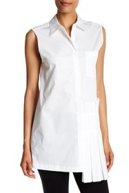 DKNY Sleeveless Collared Side Pleated Blouse