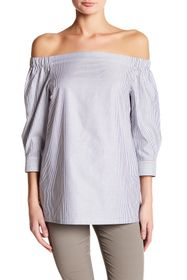 Theory Striped Off-the-Shoulder Blouse