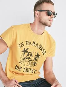 Lucky Brand Coolmax In Paradise We Trust Crew Tee