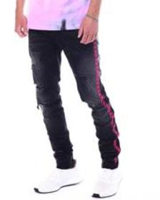 KDNK neon embroidered jeans