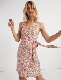 Lucky Brand Printed Mini Wrap Dress