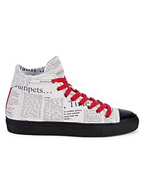 John Galliano High-Top Newsprint Sneakers