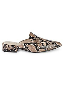 Cole Haan Piper Snakeskin-Print Leather Mules