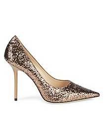 Jimmy Choo Glitter Leather Stiletto Pumps