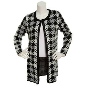 Petite NY Collection Long Sleeve Houndstooth Cardi