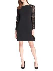 Lace-Sleeve Scuba Crepe Shift Dress