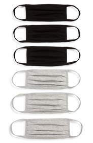 Nordstrom 6-Pack Adult Pleated Cotton Face Masks