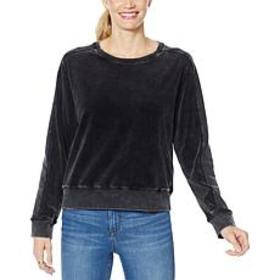 """As Is"" Skinnygirl Snow Wash Velour Pullover Sweat"