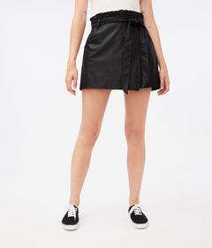 Aeropostale Faux Leather High-Rise Paper Bag Skort