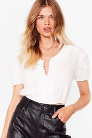 Nasty Gal White Hit My Buttons Cropped Blouse