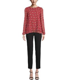 Anne Klein Tango Double Layer Long Sleeve Top