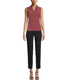 Anne Klein Pearly Dot Triple Pleated Top