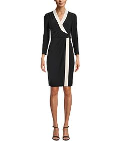 Anne Klein Color-Blocked City Wrap Dress
