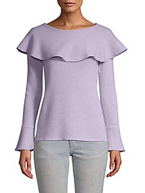 Qi Cashmere Flounced Cashmere Sweater