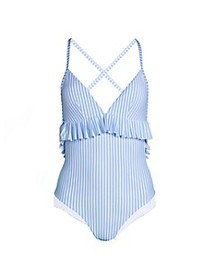 Avec Les Filles Striped Ruffled One-Piece Swimsuit