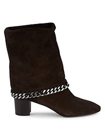 Casadei Folded Cuff Mid-Calf Suede Boots