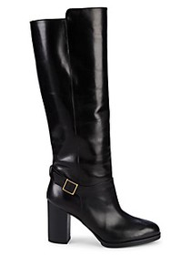Tod's Gomma Block-Heel Leather Knee-High Boots