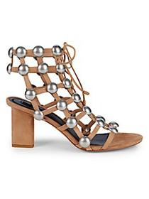 Alexander Wang Rainey Embellished Suede Lace-Up Bl