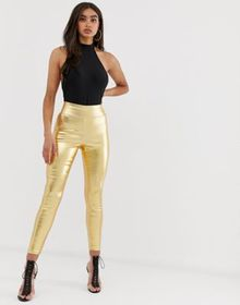 ASOS DESIGN pull on jegging in washed metallic gol