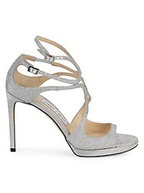 Jimmy Choo Lance Glitter Leather Sandals