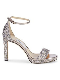 Jimmy Choo Misty Coarse Glitter Leather Heeled San