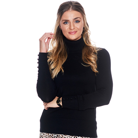 Plus Size Retrology Covered Button Turtleneck Pull