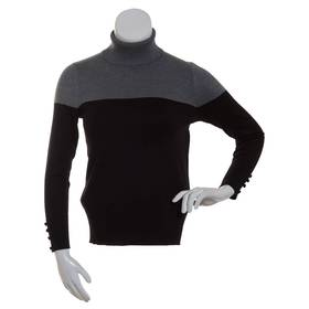 Plus Size Retrology Color Block Turtleneck Sweater