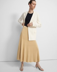Ribbed Skirt in Pebbled Viscose