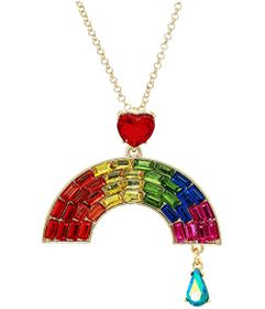 Betsey Johnson Rainbow Short Pendant Necklace