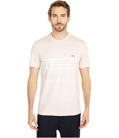 Lacoste Short Sleeve Striped Tee in Cotton/Linen B