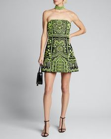 Alice + Olivia Paige Embroidered Strapless Dress w