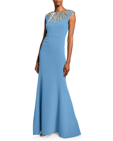 Zac Posen Embroidered-Neck Sleeveless Gown