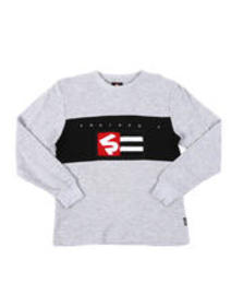 Southpole chenille flag long sleeve thermal shirt