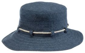 Dorfman Pacific Chambray Rope-Trim Floppy Hat for