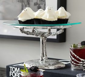 Pottery Barn Skeleton Hand Cake Stand