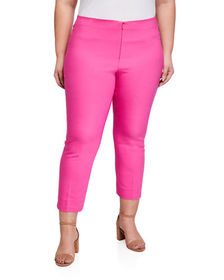 Neiman Marcus Plus Size Ankle-Zip Pants