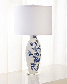 Jamie Young Blue Floral Ceramic Table Lamp