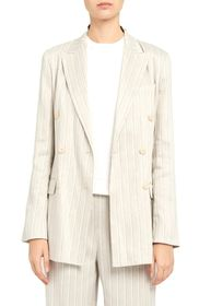 Theory Double Breasted Stripe Linen Blend Jacket