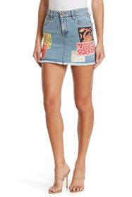 alice + olivia Good High Rise Patchwork Mini Skirt